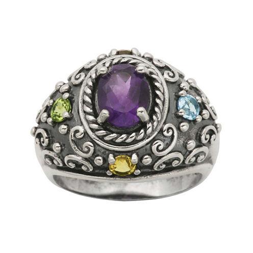 Multi-Gemstone Oxidized Sterling Silver Ring