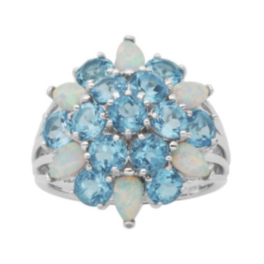 jcpenney.com | Genuine Swiss Blue Topaz and Lab-Created Opal Cluster Ring