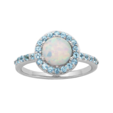 jcpenney.com | Genuine Swiss Blue Topaz and Lab-Created Opal Halo Ring