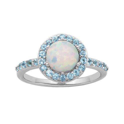 Genuine Swiss Blue Topaz and Lab-Created Opal Halo Ring