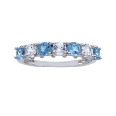 jcpenney.com | Genuine Blue Topaz and Lab-Created White Sapphire Sterling Silver Band Ring