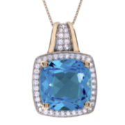 Genuine Blue Topaz and White Sapphire Pendant Necklace