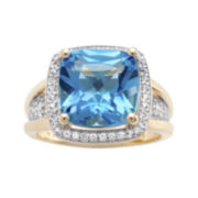 Genuine Blue Topaz and White Sapphire Cushion-Cut Halo Ring