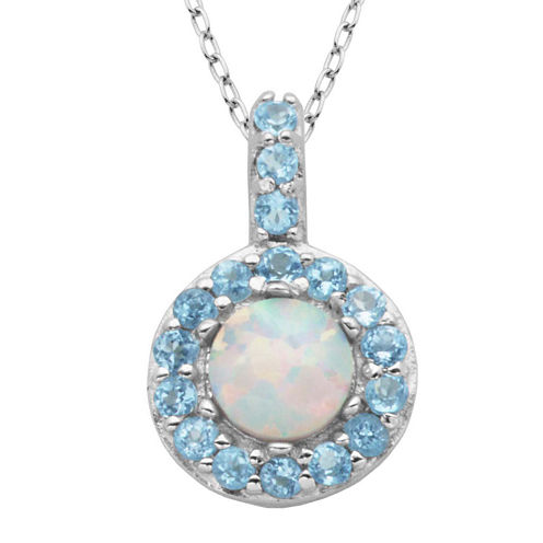 Genuine Swiss Blue Topaz and Lab-Created Opal Halo Pendant Necklace