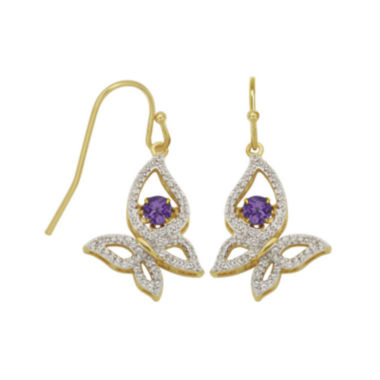 jcpenney.com | Love in Motion™ Genuine Amethyst and Lab-Created White Sapphire Butterfly Earrings