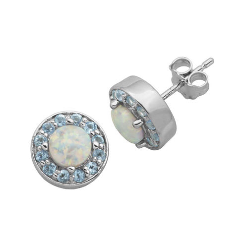 Genuine Swiss Blue Topaz and Lab-Created Opal Halo Earrings