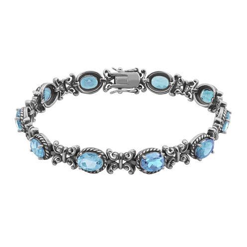 Genuine Sky Blue Topaz Oxidized Sterling Silver Tennis Bracelet