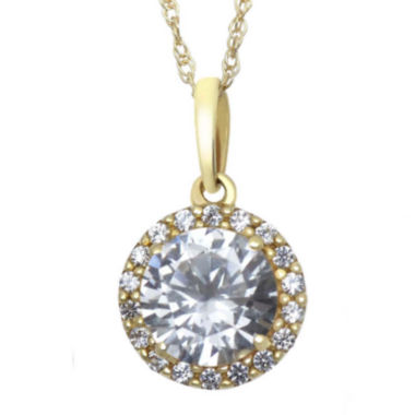 jcpenney.com | Lab-Created White Sapphire 10K Yellow Gold Halo Pendant Necklace