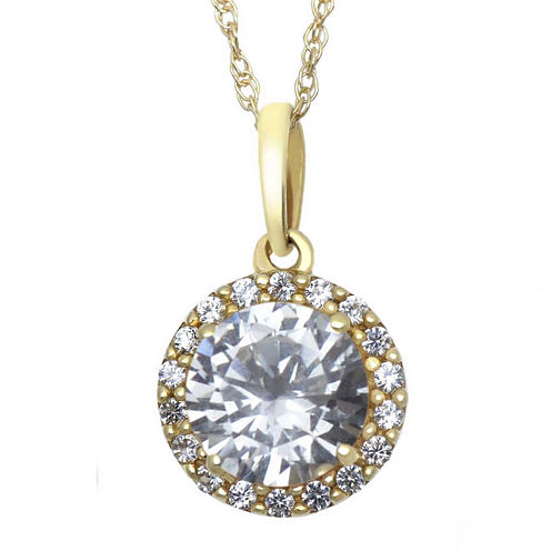Lab-Created White Sapphire 10K Yellow Gold Halo Pendant Necklace