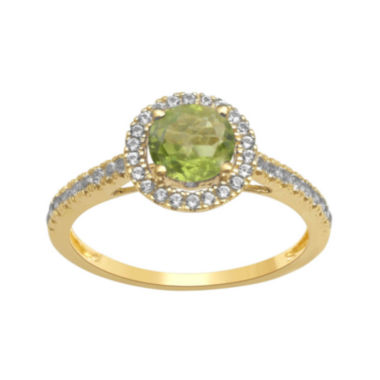 jcpenney.com | Genuine Peridot and Lab-Created White Sapphire 10K Yellow Gold Halo Ring