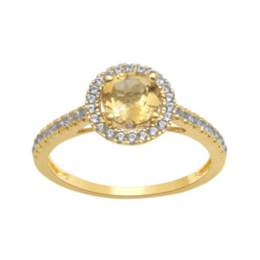 jcpenney.com | Genuine Citrine and Lab-Created White Sapphire 10K Yellow Gold Halo Ring