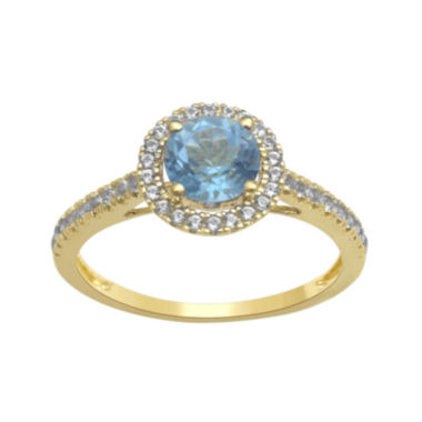 jcpenney.com | Genuine Blue Topaz and Lab-Created White Sapphire 10K Yellow Gold Halo Ring