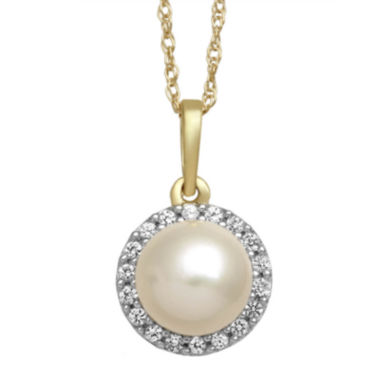 jcpenney.com | Cultured Freshwater Pearl and White Sapphire 10K Yellow Gold Halo Pendant Necklace