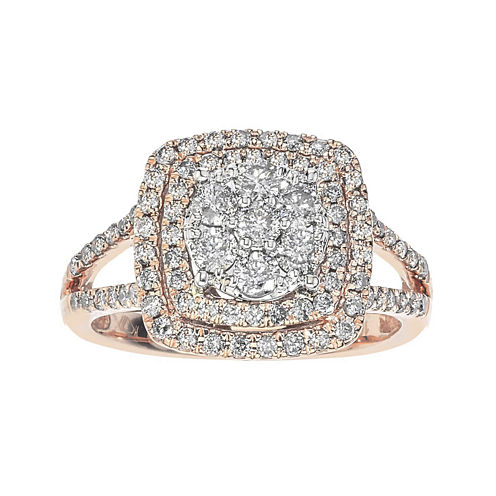 diamond blossom 1 CT. T.W. Diamond 10K Rose Gold Double-Halo Ring