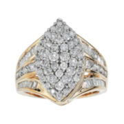 2 CT. T.W. Diamond 10K Two-Tone Gold Marquise-Shaped Ring