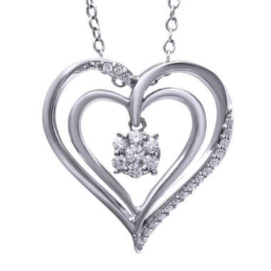 jcpenney.com | 1/4 CT. T.W. Diamond 14K White Gold Heart Pendant Necklace