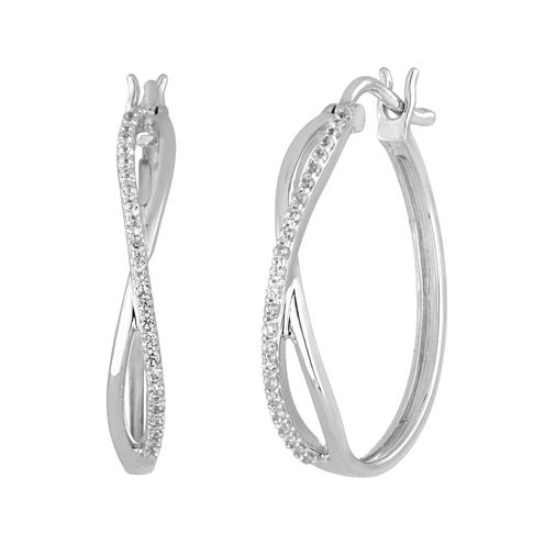1/4 CT. T.W. Diamond 10K White Gold X-Style Hoop Earrings