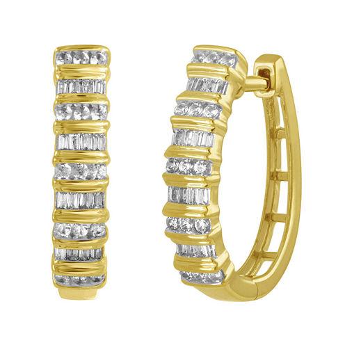 1/2 CT. T.W. Diamond 10K Yellow Gold Railroad Hoop Earrings