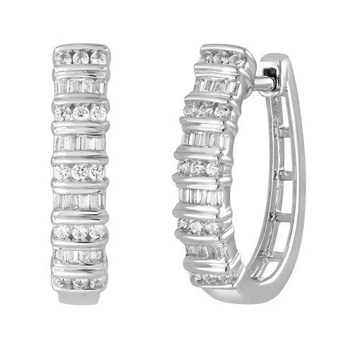 1/2 CT. T.W. Diamond 10K White Gold Railroad Hoop Earrings