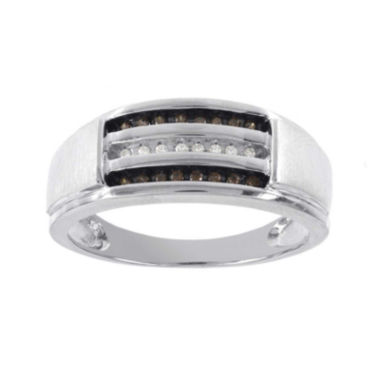 jcpenney.com | Mens 1/8 CT. T.W. White and Champagne Diamond 10K White Gold Ring
