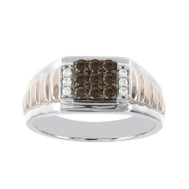 jcpenney.com | Mens 1/2 CT. T.W. White and Champagne Diamond 10K Two-Tone Gold Ring