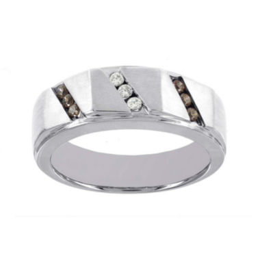 jcpenney.com | Mens 1/4 CT. T.W. White and Champagne Diamond 10K White Gold Ring