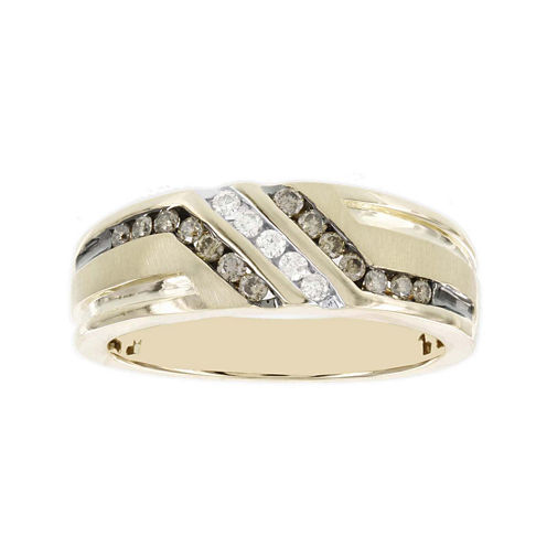 Mens 3/8 CT. T.W. White and Champagne Diamond 10K Yellow Gold Ring
