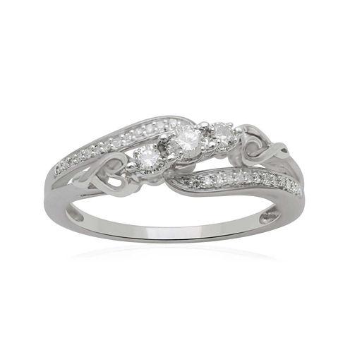 Hallmark Diamonds 1/5 CT. T.W. Diamond Heart Sterling Silver Ring