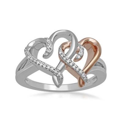 Hallmark Diamonds 1/10 CT. T.W. Diamond Heart Two-Tone Double-Heart Ring