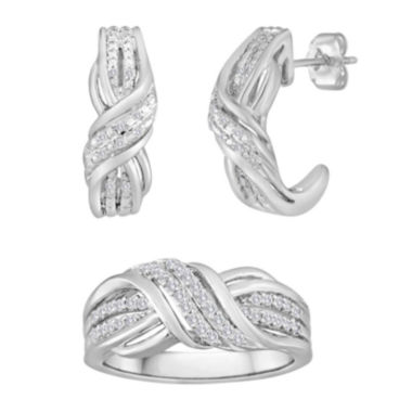 jcpenney.com | 1/10 CT. T.W. Diamond Sterling Silver Crossover Earring and Ring Set