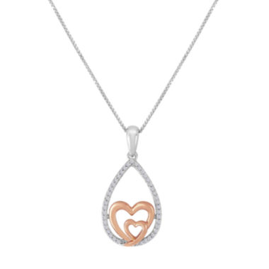 jcpenney.com | ForeverMine® 1/10 CT. T.W. Diamond Two-Tone Heart Pendant