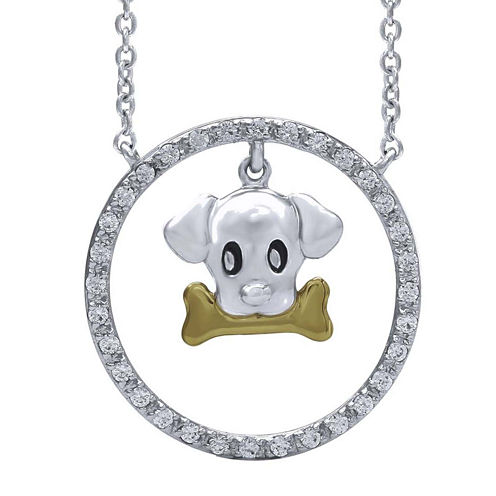ASPCA® Tender Voices™ 1/6 CT. T.W. Black Diamond Paw Heart Pendant Necklace