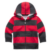 Okie Dokie® Fleece Zip-Front Hoodie - Baby Boys newborn-24m