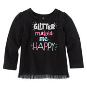 Okie Dokie® Long-Sleeve Holiday Tulle Tee - Baby Girls newborn-24m
