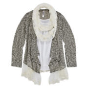 Beautees Lace-Hem Cardigan, Top and Scarf - Girls 7-16