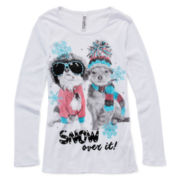 Beautees Long-Sleeve Graphic Holiday Tee - Girls 7-16