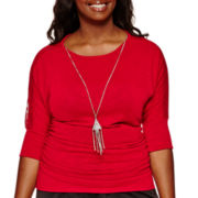 by&by Elbow-Sleeve Side-Cinched Knit Necklace Top - Plus