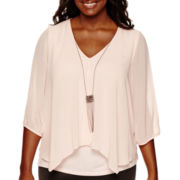 by&by Long-Sleeve Chiffon Split-Front Necklace Top - Plus