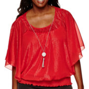 by&by Short-Sleeve Smocked-Bottom Necklace Top - Plus
