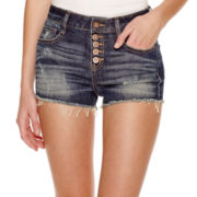 Decree® Button-Front Denim Shorts