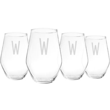 jcpenney.com | Cathy's Concepts Set of 4 Personalized Contemporary Stemless Wine Glasses