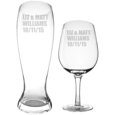 jcpenney.com | Cathy's Concepts Personalized XL Wine Glass and Pilsner Glass Set