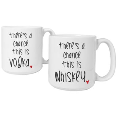 "jcpenney.com | Cathy's Concepts ""There's a Chance"" Set of 2 Personalized Large 20-oz. Coffee Mugs"