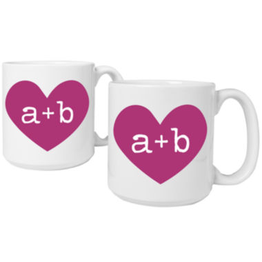 jcpenney.com | Cathy's Concepts Heart of Love Set of 2 Personalized Large 20-oz. Coffee Mugs