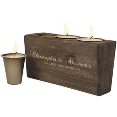 jcpenney.com | Cathy's Concepts Personalized Rustic Wood Sugar Mold Candle Holder