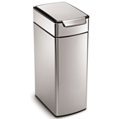 jcpenney.com | simplehuman® 40L Brushed Stainless Steel Slim Touch-Bar Trash Can