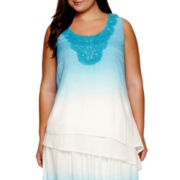 Alyx® Sleeveless Dip-Dye Top with Embroidered Neckline - Plus