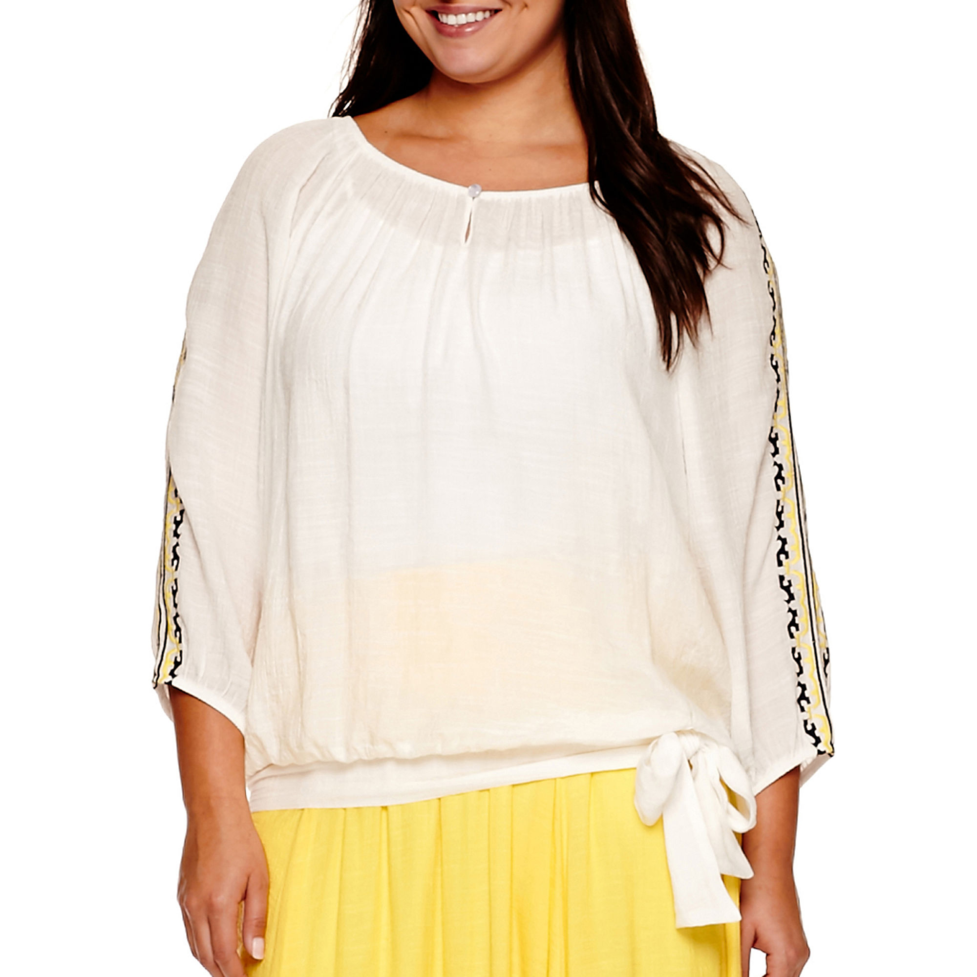 Alyx Embroidered Lace-Sleeve Gauze Top - Plus