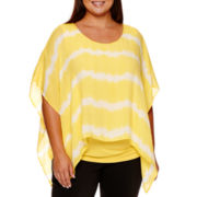 Alyx® Knit/Gauze Striped Top with Lace-Trim Sleeves - Plus