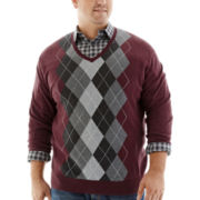 Claiborne® V-Neck Argyle Sweater-Big & Tall